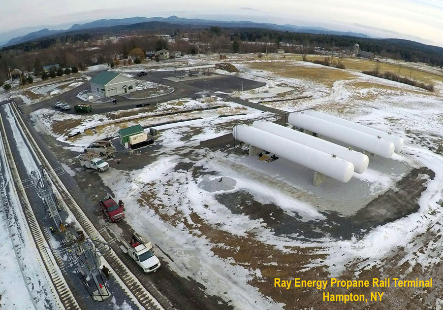 Ray Energy Aerial View of Propane Rail Terminal in Hampton, NY.